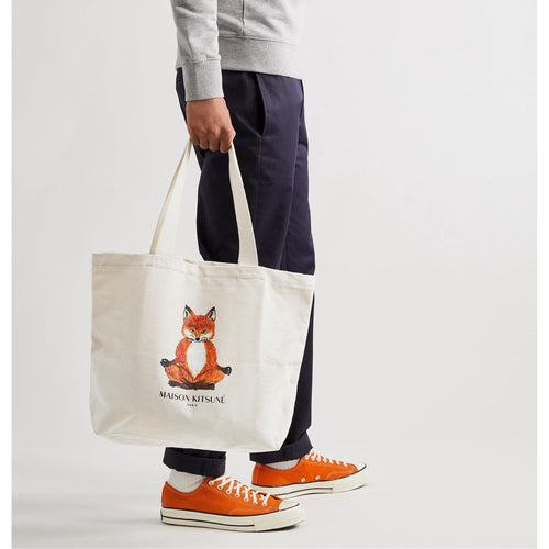 Maison Kitsune Logo Print Cotton Canvas Tote Bag
