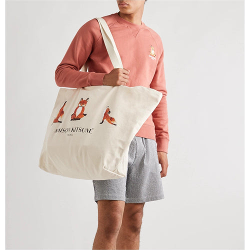 Maison Kitsune XXL Logo-Print Cotton-Canvas Tote Bag