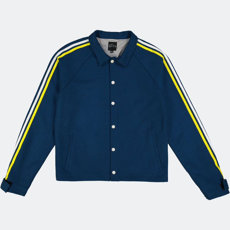 Wool Striped Coach Jacket Navy