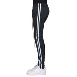 WHITE- BLACK PIN STRIPE TRACK PANTS