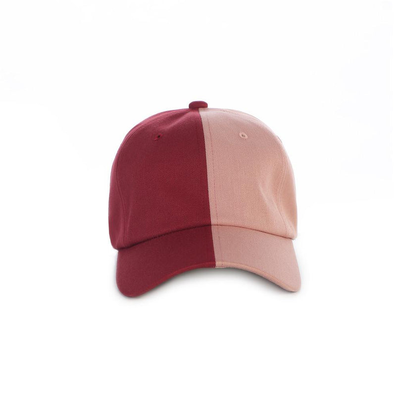 Burgundy/Pink Split Dad Cap