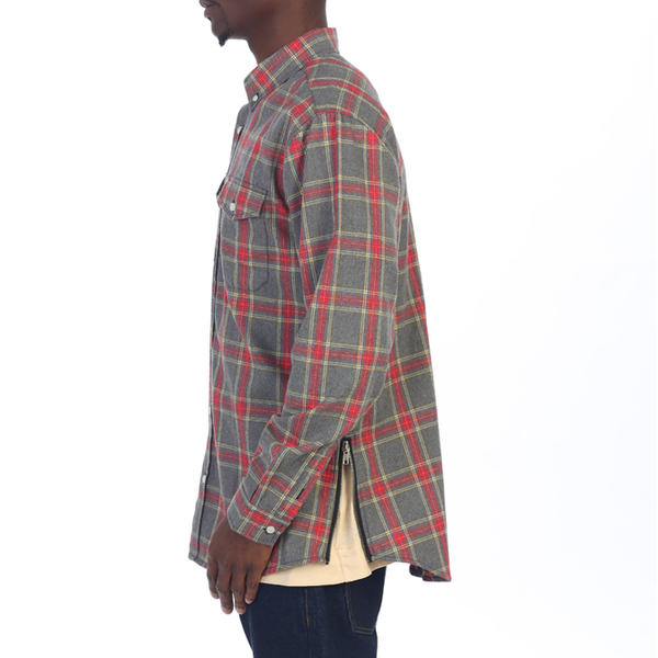 Grey Side Zip Flannel