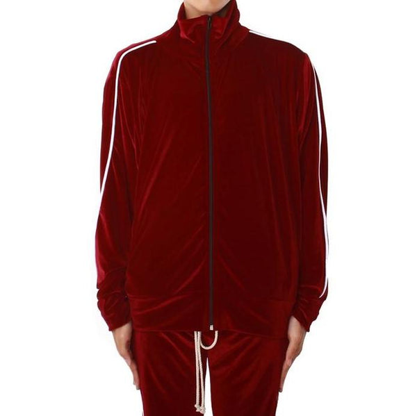 Velour Track Jacket Burgundy White