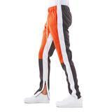 Orange Grey Color Block Track Pant