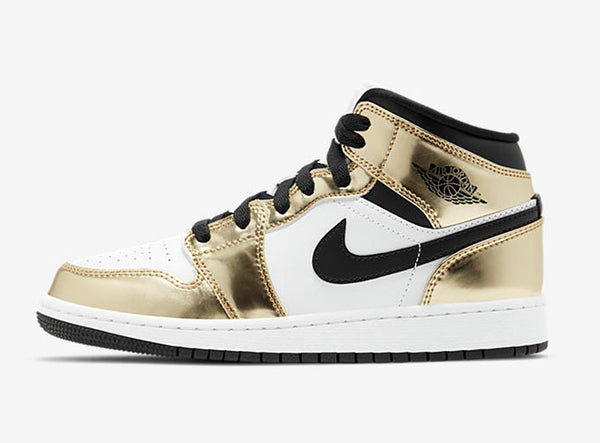 "AIR JORDAN 1 MID SE (Gs) ""METALLIC GOLD"""