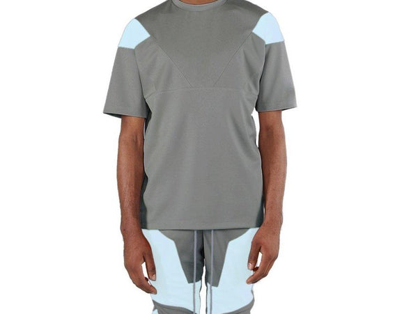 Grey/Sky Blue-Engineered Color Block Tee
