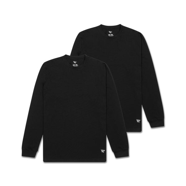 Essential 2 Pack Long Sleeve Tees Black