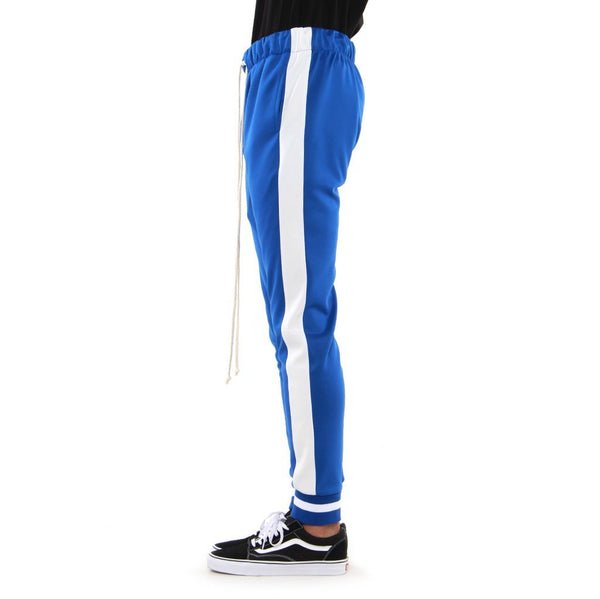 Blue/Off White-Ribbed Track Pants