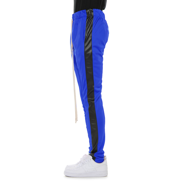 Blue Black Vegan Leather-Track Pant