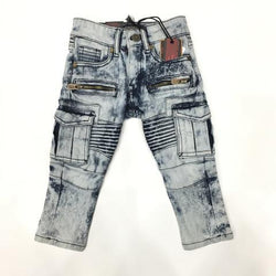 Kids Biker Bleached Denim