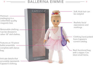 "Playtime by Eimmie Capezio 18"" Ballerina Doll with 10pc Outfit and Dance Bag"