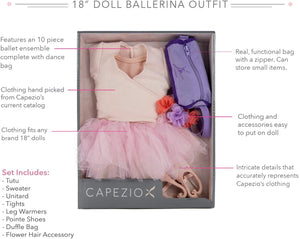 "10pc Ballerina Outfit for 18"" Dolls by Capezio Clothing & Bag"