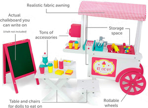 Playtime by Eimmie Doll Ice Cream Stand - Food Cart and Doll Accessories for 18 Inch Doll