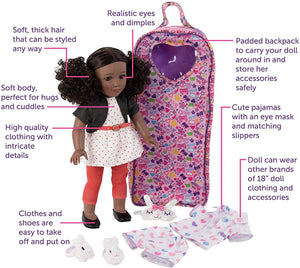 "Playtime by Eimmie 18"" Doll for Girls - 18 Inch Doll with Pajamas and Carrying Case - Doll Clothes and Accessories - Kaylie"