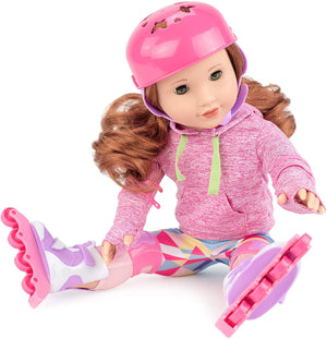 "Club Eimmie 18"" Doll Clothing Playtime Packs - Doll Accessories, Doll Shoes, and Doll Clothes - Roller Skating Doll Outfit"