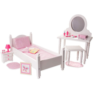 Eimmie 18 Inch Doll Furniture 18 Inch Doll Furniture Bed and Vanity Set w/ 20+ Accessories