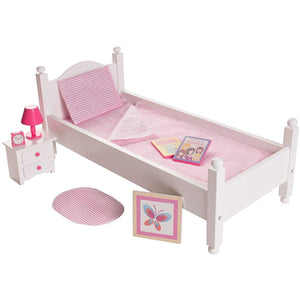 Eimmie 18 Inch Doll Furniture 18 Inch Doll Furniture Bed & Night Stand Set w/ 10+ Accessories