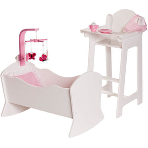 Eimmie 18 Inch Doll Furniture 18 Inch Doll Furniture High Chair and Cradle Set w/ 6 Accessories
