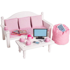 Eimmie 18 Inch Doll Furniture 18 Inch Doll Furniture Sofa & Coffee Table Set w/ 18 Accessories