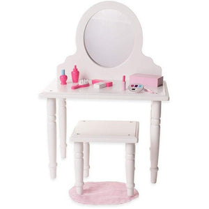 Eimmie 18 Inch Doll Furniture 18 Inch Doll Make Up Vanity and Stool Furniture Set W/ 10 Accessories