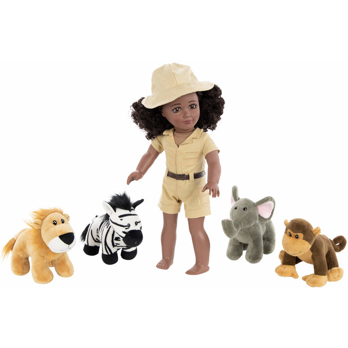 Club Eimmie Playtime Pack- 18 Inch Doll Safari Set with Plush Animals