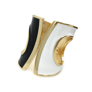 Black, White & Gold Cuff Bracelet