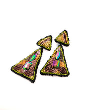 Load image into Gallery viewer, Pyramids Triangle Beaded Drop Earrings