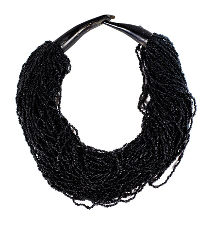 Beaded Strings Black Necklace