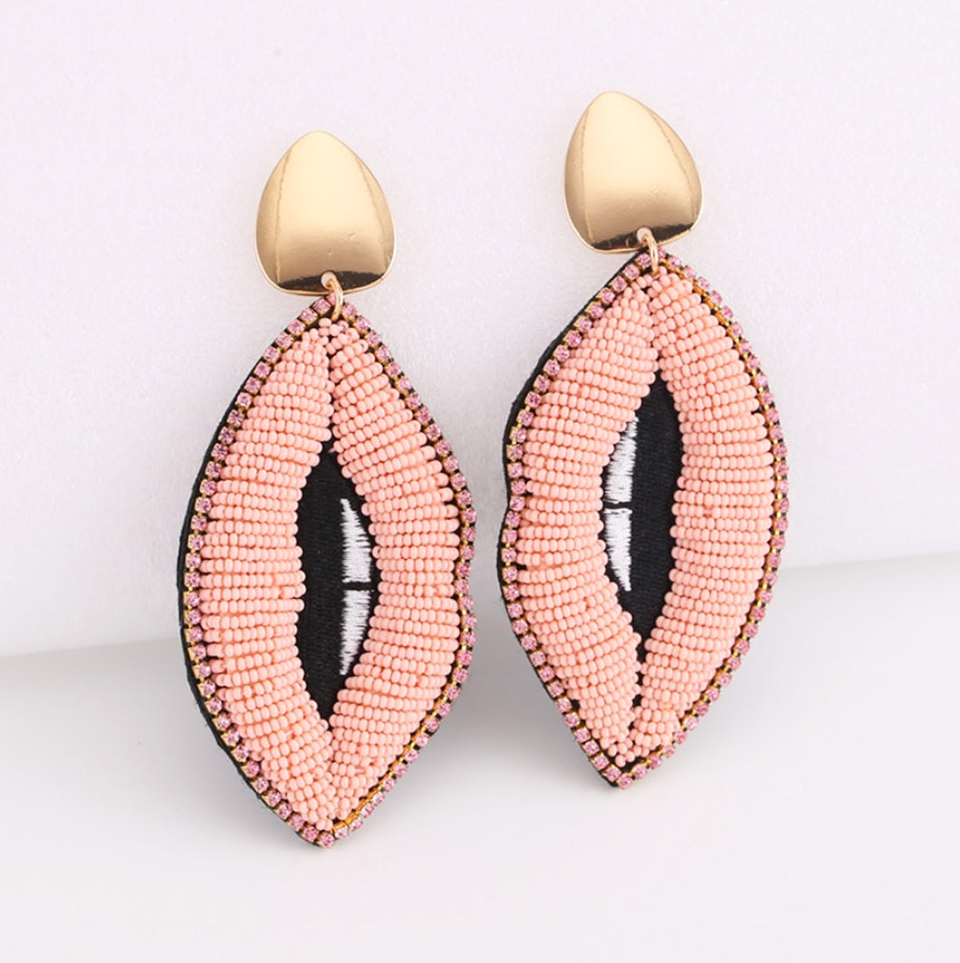 Pink Lips Drop Earrings