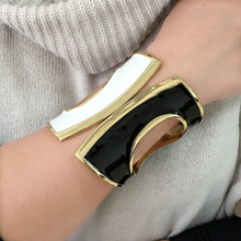 Load image into Gallery viewer, Black, White & Gold Cuff Bracelet