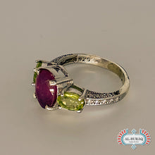 Load image into Gallery viewer, Ruby/Peridot (Zamrad) Ring-al-Burāq