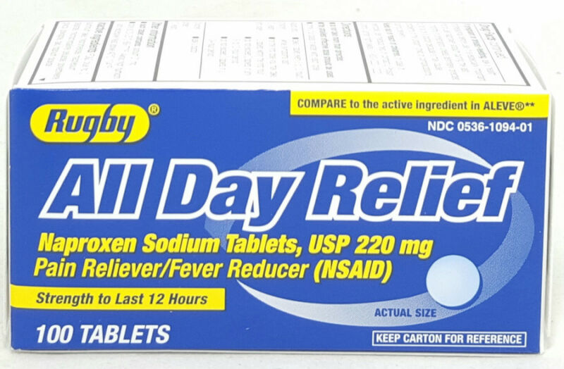 Rugby All Day Relief Tablets 220mg 100ct 305361094010