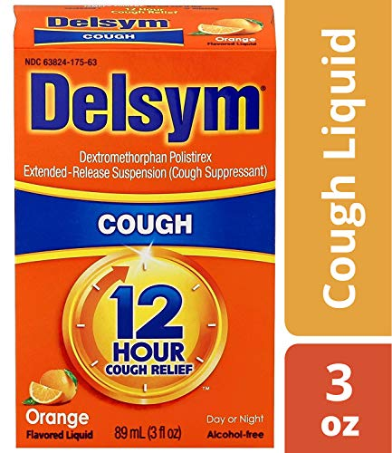 Delsym 12 Hour Cough Relief Liquid- Day Or Night, Orange Flavor Cough Medicine With Dextromethorphan Helps Quiet Cough By Suppressing Cough Reflex, 3 oz.