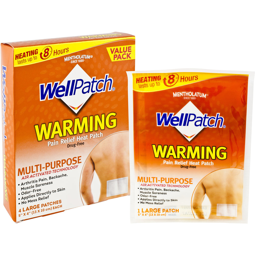 "WellPatch Warming Pain Relief Heat Patch, 4 large patches, 5""x4"" (13x10 cm)"