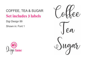 Coffee, Tea & Sugar Pantry Label Set