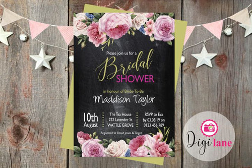 'Floral Blackboard'  |  Bridal Shower Invitation
