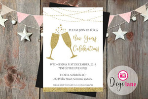 'Cheers'  |  New Years Eve Party Invitation
