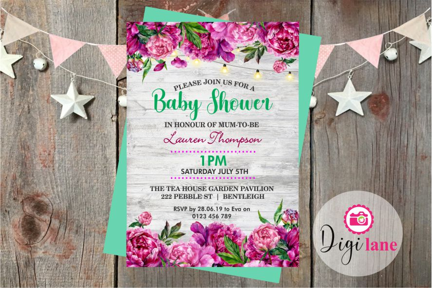 'Fun Florals'  |  Baby Shower Invitation