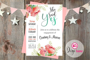'She Said Yes'  |  Engagement Party Invitation