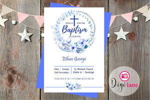 'Little Boy Blue'  |  Baptism Invitation