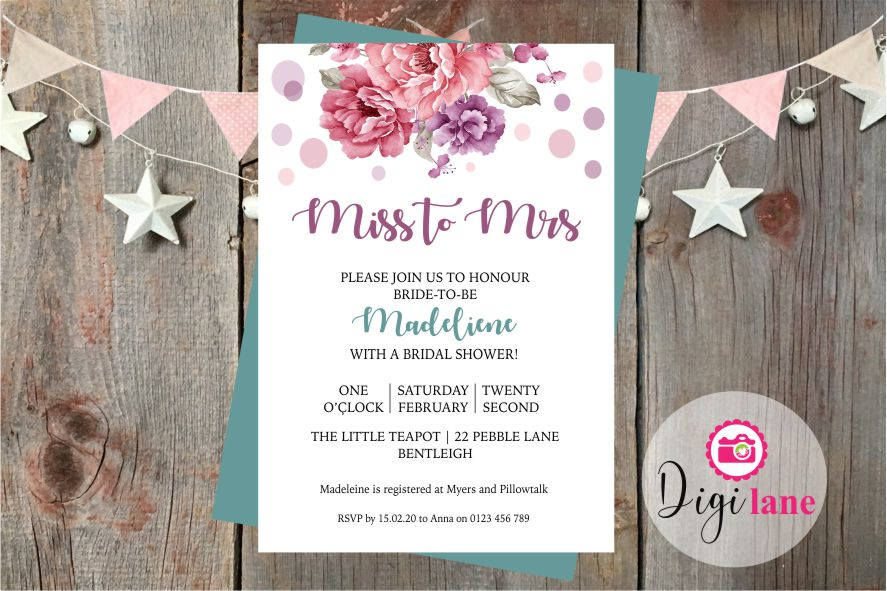 'Miss to Mrs'  |  Bridal Shower Invitation