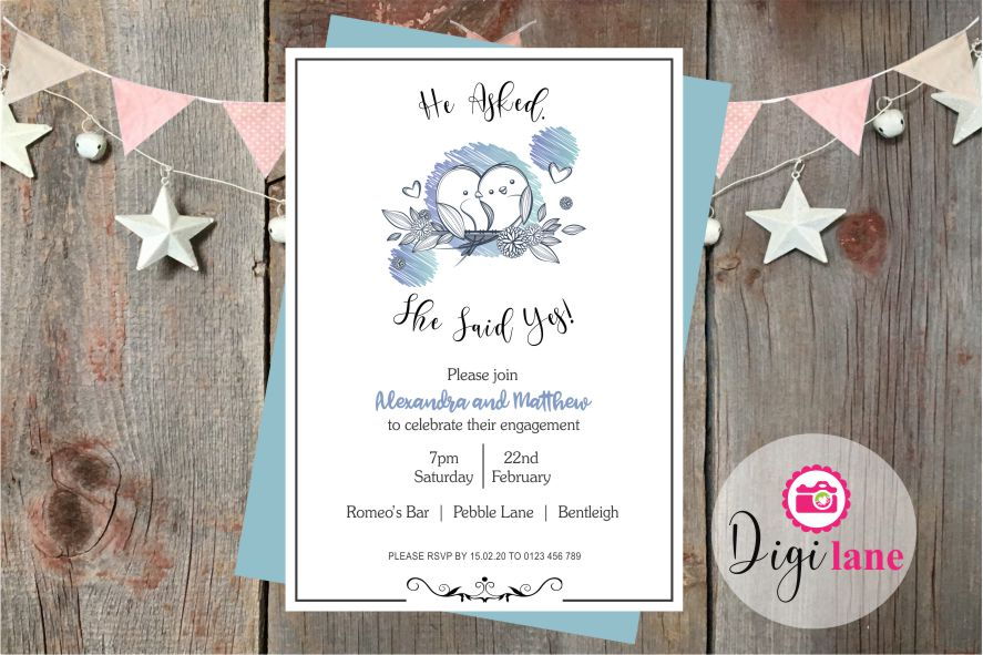 'Love Birds'  |  Engagement Party Invitation