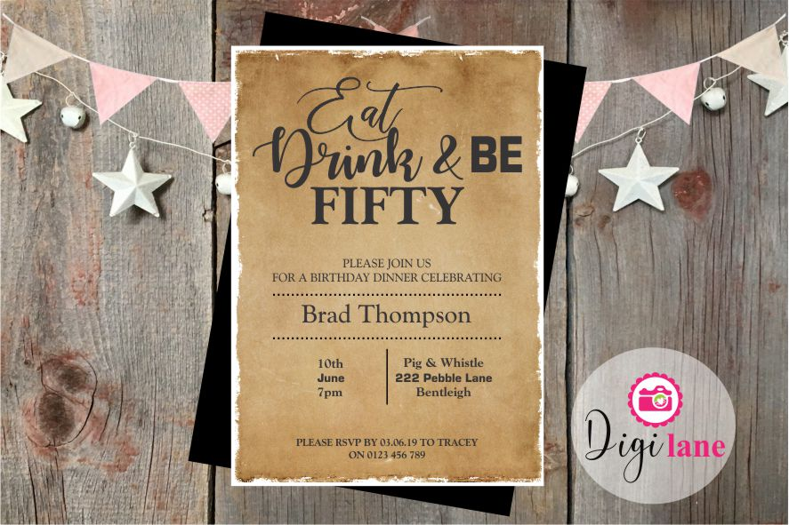 'Eat, Drink & Be'  |  Birthday Party Invitation