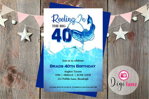 'Reeling In The Big 40'  |  Birthday Party Invitation
