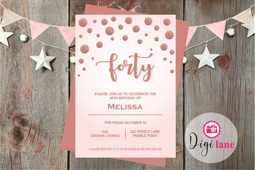 'Rosey Forty'  |  Birthday Party Invitation