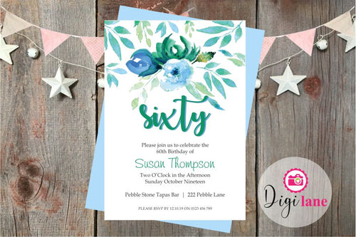 'Sixty Petals'  |  Birthday Party Invitation