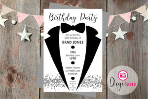 'Black Tie'  |  Birthday Party Invitation
