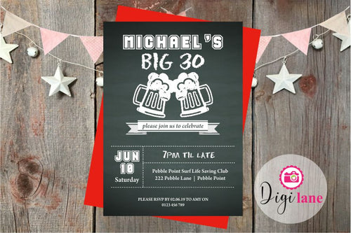 'Chalked Up'  |  Birthday Party Invitation