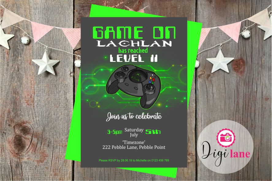 'Game On'  |  Birthday Party Invitation