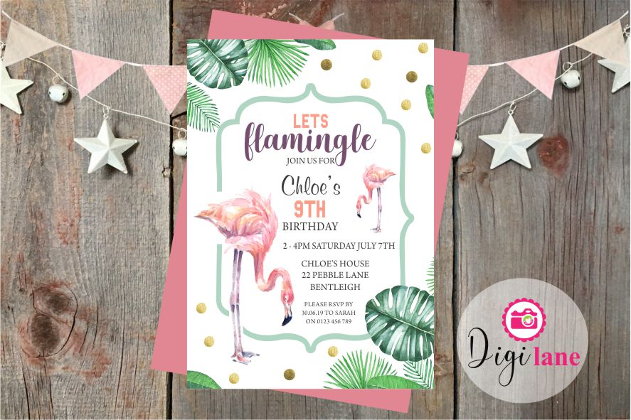'Lets Flamingle'  |  Birthday Party Invitation